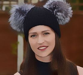 Double Pom Beanie Hat with 2 Large Real Silver Fox Fur Poms